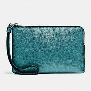 NWT Coach metallic teal wristlet!! PRICE FIRM